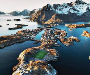 mountains, norway, and ocean image