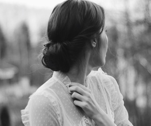 back and white, girl, and hair image