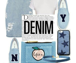 denim, outfit, and Polyvore image