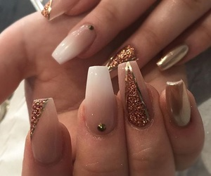 glitter, ombre nails, and gold metallic image