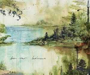 bon iver, painting, and green image