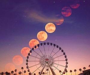 art, ferris wheel, and moon image