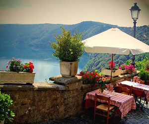 italy, cafe, and flowers image
