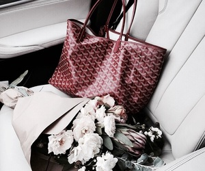 flowers, red, and bag image