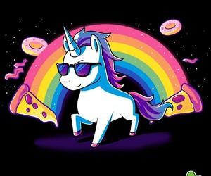 unicorn, pizza, and rainbow image