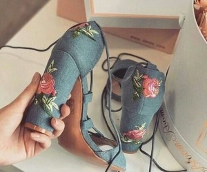 heels, embroidery, and shoes image