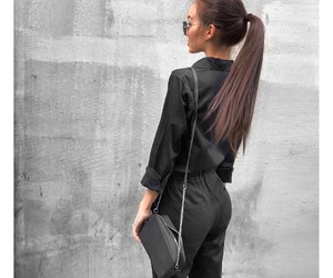 black, fitness, and outfit image