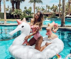 unicorn, pool, and summer image