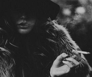 cigarette, fur, and girl image