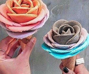 ice cream, food, and flowers image