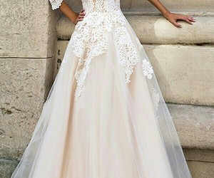 dress, wedding dress, and lace image