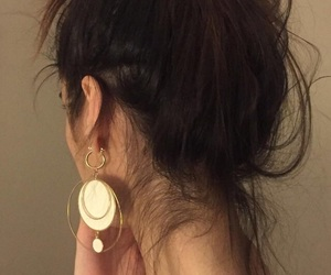 hair, earrings, and style image