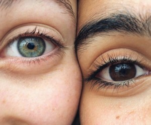 blue eyes, eyebrows, and brown eyes image