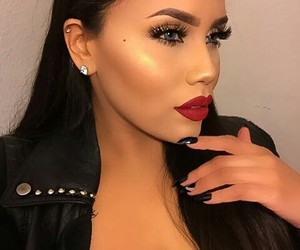 black nails, earrings, and women image