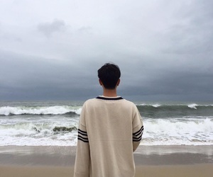 boy, background, and ocean image
