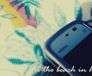 beach, phone, and text image