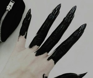 black, dark, and nails image