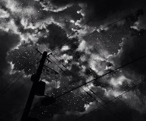 clouds, manga, and b&w image
