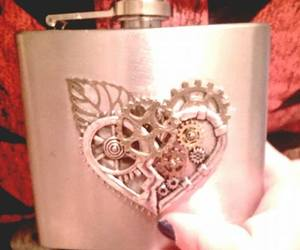 alcohol, steampunk, and flask image