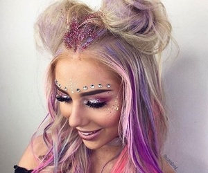 hair, glitter, and makeup image