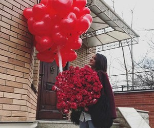 balloon, bouquet, and red roses image