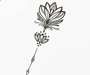 black, flower, and white image