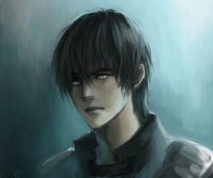 black hair, short hair, and silver eyes image