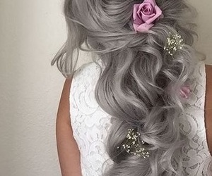 beauty, flowers, and hair image