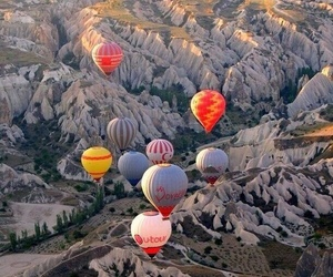 travel, balloons, and mountains image