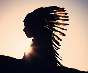 girl, feather, and indian image