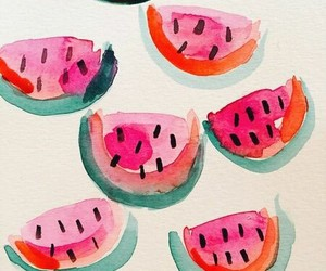 watercolor and watermelon image