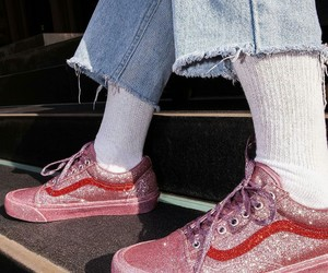 vans, pink, and glitter image