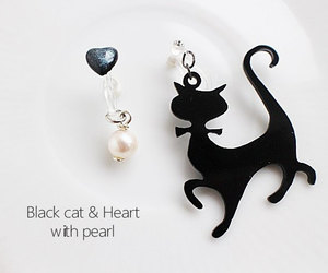 cat, earrings, and pearl image