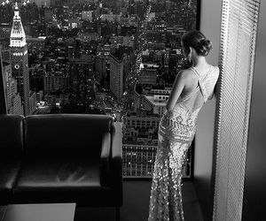 dress, city, and black and white image