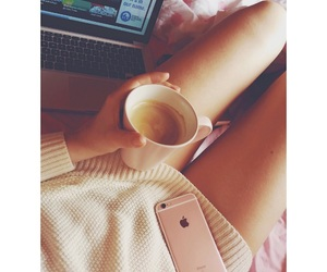 bed, coffee, and girly image