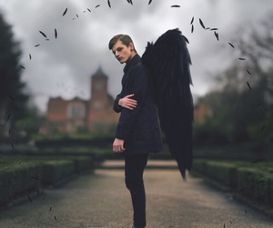 angel, boy, and black image