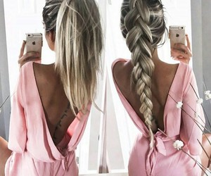blonde, pink, and braid image