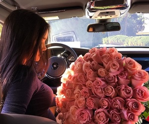 girl, flowers, and car image