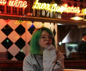 drink, green hair, and light image