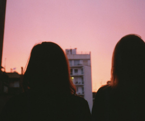 girl, sunset, and friends image