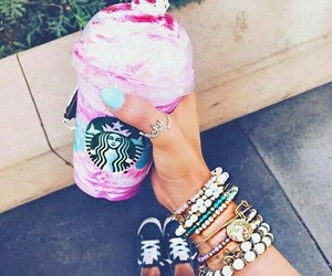 pink, starbucks, and style image