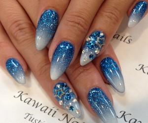 fake nails, nails, and blue image