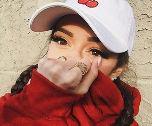 girl, red, and beauty image