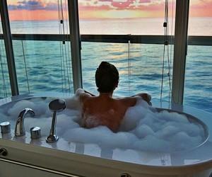 sunset, bath, and sea image