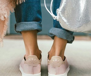 sneakers, rose gold, and street fashion image