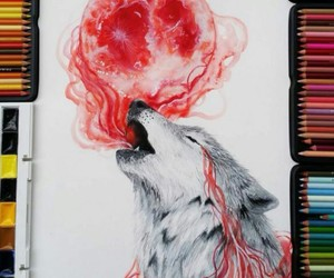 wolf, drawing, and red image