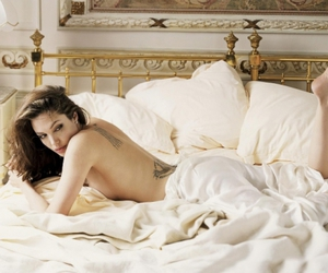 Angelina Jolie, sexy, and bed image