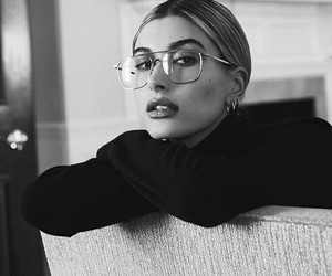 hailey baldwin, beauty, and black and white image