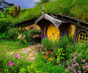 cottage, hillside, and hobbit image
