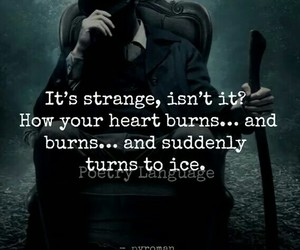 quotes, burning heart, and cold heart image
